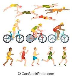 Triathlon athletes design stylized symbolizing competition race athlete man character vector.