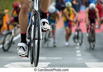 triathlon, bicicleta, zona, transição