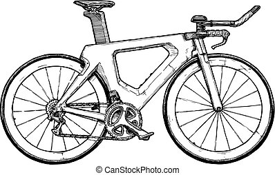 Time trial bicycle - Triathlon bike. Vector ink hand drawn ...