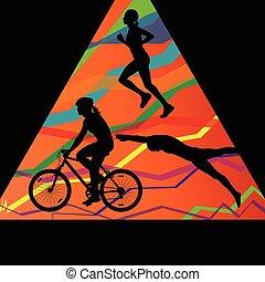triathlon, ciclismo, abstratos, homens, executando, cobrança, silhuetas, vetorial, fundo, desporto, maratona, natação