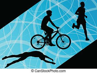 triathlon, ciclismo, abstratos, homens, jovem, cobrança, executando, vetorial, ilustração, fundo, ativo, silhuetas, desporto, maratona, natação