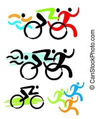 Triathlon competitors icons - Stylized colorful Illustration...