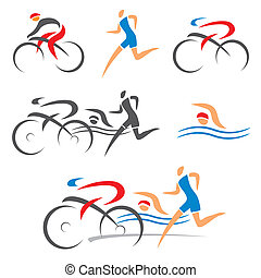 Triathlon cycling fitness icons - Icons symbolizing ...