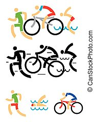 Triathlon cycling swimming icons