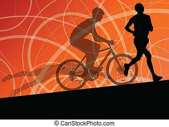 triathlon, cyclisme, résumé, hommes, jeune, collection, courant, vecteur, illustration, fond, actif, silhouettes, sport, marathon, natation