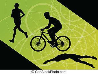 triathlon, cyclisme, résumé, hommes, jeune, collection, ...
