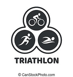 Triathlon event illustration - Triathlon event logo. Swim,...