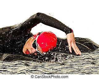 triathlon, frau, triathlete, schwimmer, freigestellt, badeanzug, hintergrund, ironman, weißes, schwimmender