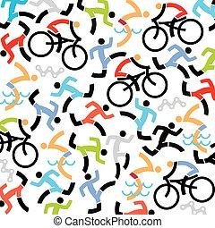 triathlon, fundo, ícones