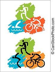 Triathlon grunge icons