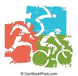 Triathlon Grunge icons - Stylized illustration of Three...
