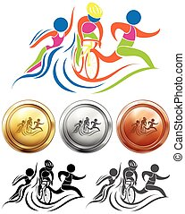 Triathlon icon and sport medals illustration