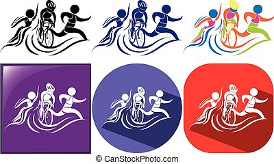 Triathlon icon in three designs