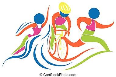 triathlon, icona, in, colori
