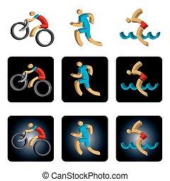 triathlon, icons., trois dimensionnel