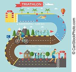 triathlon, infographic, vector., レース