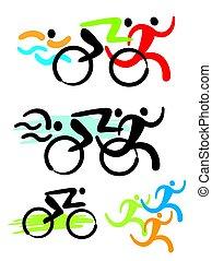 triathlon, konkurenci, ikony