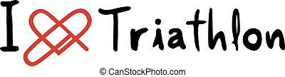 triathlon, liefde, pictogram