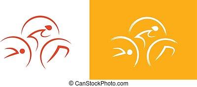Triathlon logo as man silhouettes - swimming, riding, running.