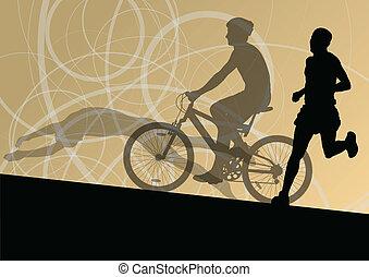 triathlon, marathon, actief, jonge mensen, zwemmen, cycling, en, rennende , sportende, silhouettes, verzameling, vector, abstract, achtergrond, illustratie