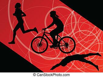 triathlon, marathon, actief, jonge vrouwen, zwemmen, cycling, en, rennende , sportende, silhouettes, verzameling, vector, abstract, achtergrond, illustratie