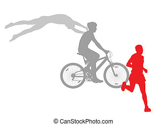 Triathlon marathon active young women swimming cycling and running sport silhouettes collection vector abstract background illustration