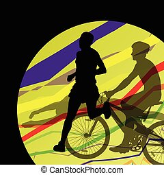 Triathlon marathon men swimming cycling and running sport silhouettes collection abstract background