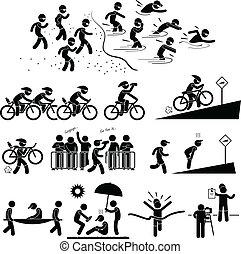 triathlon, marathon, pictogram