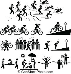 triathlon, maratona, pictogram