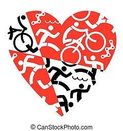 triathlon, miłość, wyścigi, cycling., pływacki