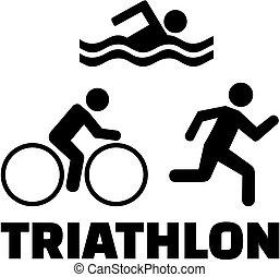 triathlon, mot, icônes