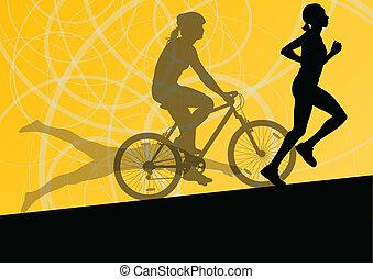 triathlon, natação, ciclismo, abstratos, jovem, cobrança, executando, vetorial, ilustração, fundo, ativo, silhuetas, desporto, maratona, mulheres