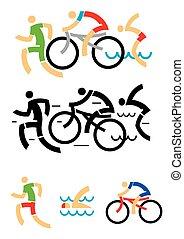 triathlon, natation, cyclisme, icônes