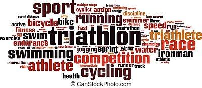 triathlon, palavra, nuvem