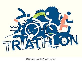 triathlon, prąd, signs.