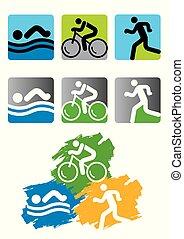 triathlon, raça, icons.