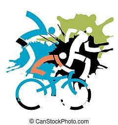 Triathlon Racers grunge stylized.