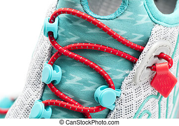 Triathlon Shoe - Special lacing a shoe triathlon on white...
