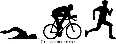 triathlon, silhouetten
