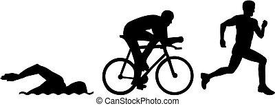 triathlon, silhouettes