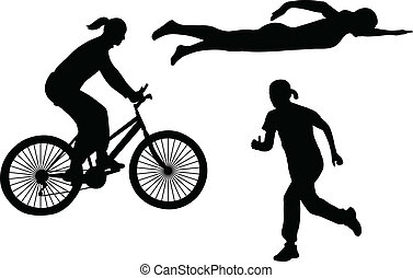 triathlon silhouettes - vector