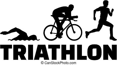 Triathlon silhouettes with word