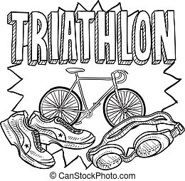 Triathlon sketch - Doodle style triathlon illustration in...