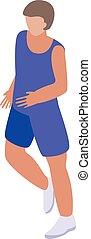 Triathlon sportsman icon, isometric style