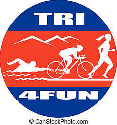 triathlon swim bike run race - illustration showing the...