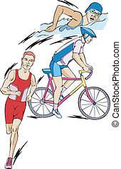 Triathlon: swimming, cycling, and running. Set of color...