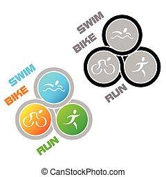 Triathlon symbol - Color and colorless symbol for triathlon