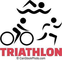 Triathlon symbols with word