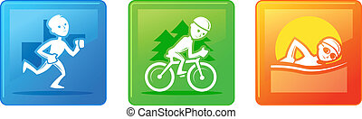 Triathlon - Three icons for triathlon, running, biking and...
