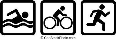 triathlon, triplo, bicicleta, nade, corrida